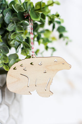 Wooden Ornament Polar Bear