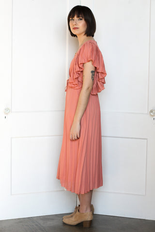 Salmon Pleated Midi Dress Large