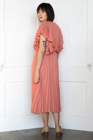 Salmon Pleated Midi Dress Small