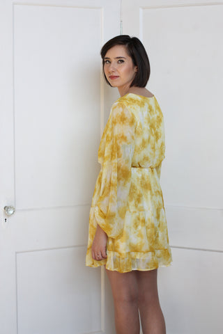 Yellow Tiered Dress Small