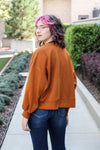 Balloon Sleeve Sweatshirt Burnt Orange X-Large
