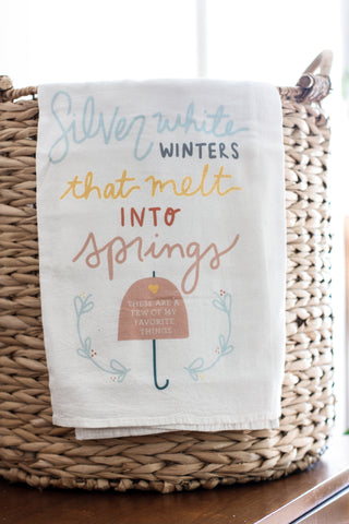 Tea Towels Silver White Winters