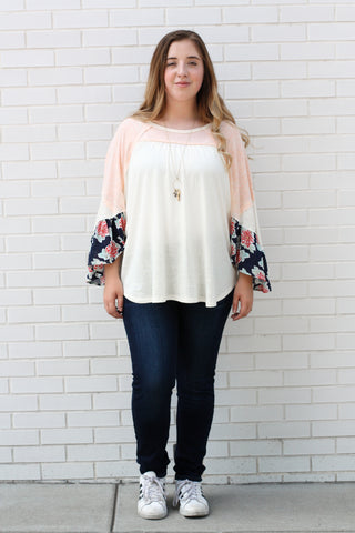 Floral Flared Sleeve Top Small