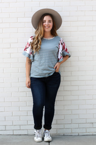 Blue Striped Floral Sleeve Top Medium