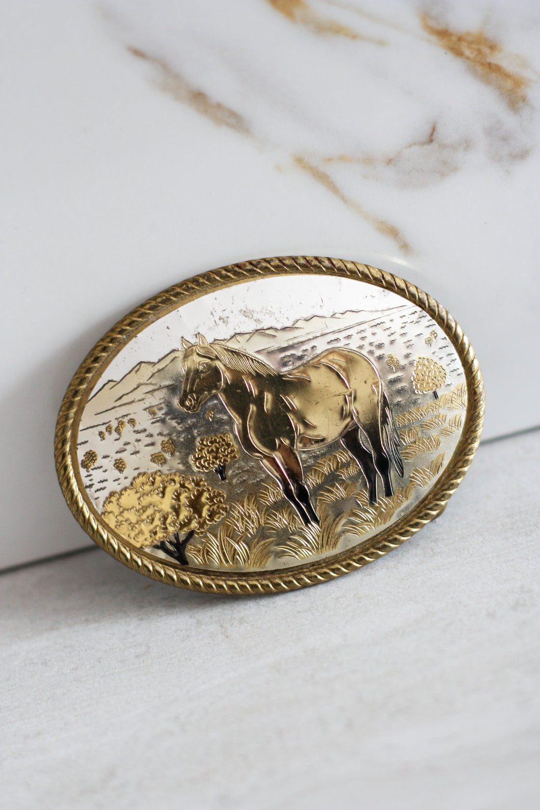 Two Toned Made In USA Horse Belt Buckle