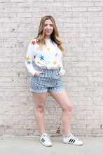 Load image into Gallery viewer, Striped High Waisted Denim Shorts Medium