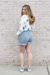 Striped High Waisted Denim Shorts Large