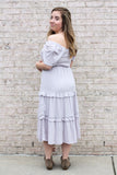 Pom Pom Ruffle Maxi Dress Large