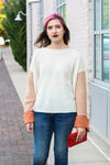 Color Block Knit Sweater Small