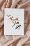 Dahlia Press Card Thank you - black and gold
