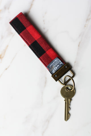 Key Fob Red + Black Check