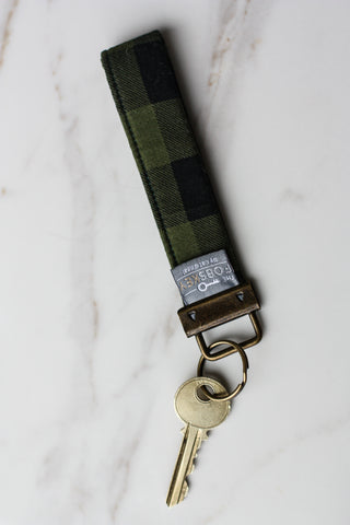 Key Fob Green + Black Check