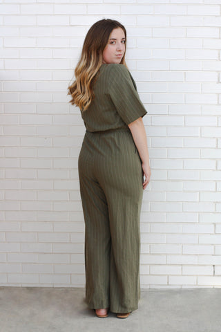Kori Button Striped Jumpsuit 2X