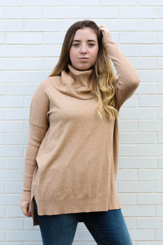 Long Sleeve Taupe Turtle Neck  S/M