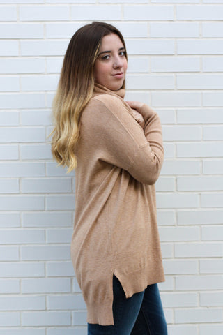 Long Sleeve Taupe Turtle Neck  M/L