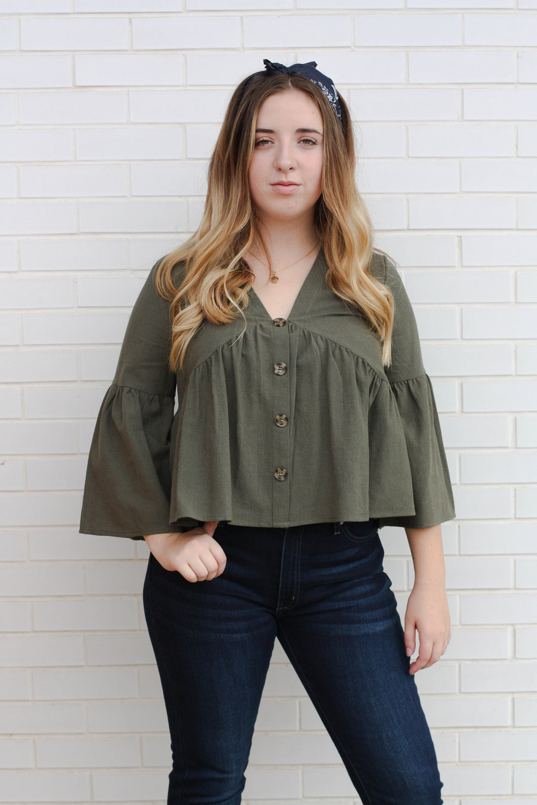 Olive Button Top Medium