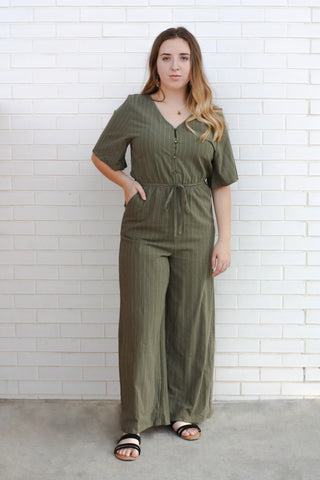 Kori Button Striped Jumpsuit small
