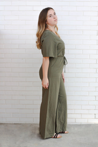 Kori Button Striped Jumpsuit 1X