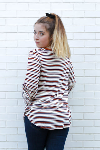 Multicolored Striped Long Sleeve Small