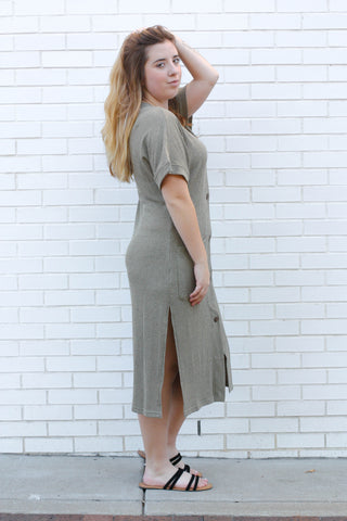 Ribbed Button Down Dress Small