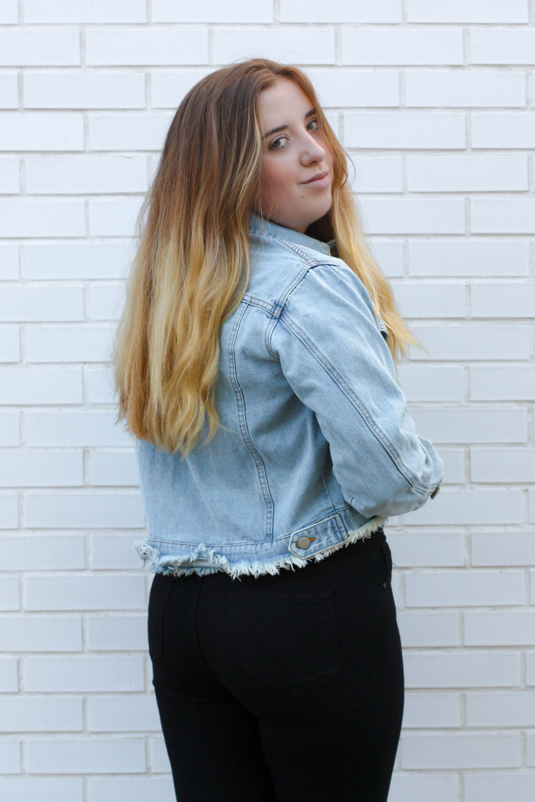 Distressed Denim Jacket Small