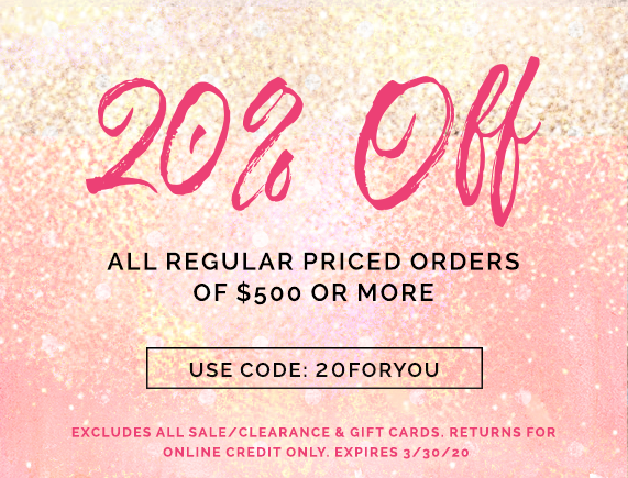 20 Percent Off Orders Over $500
