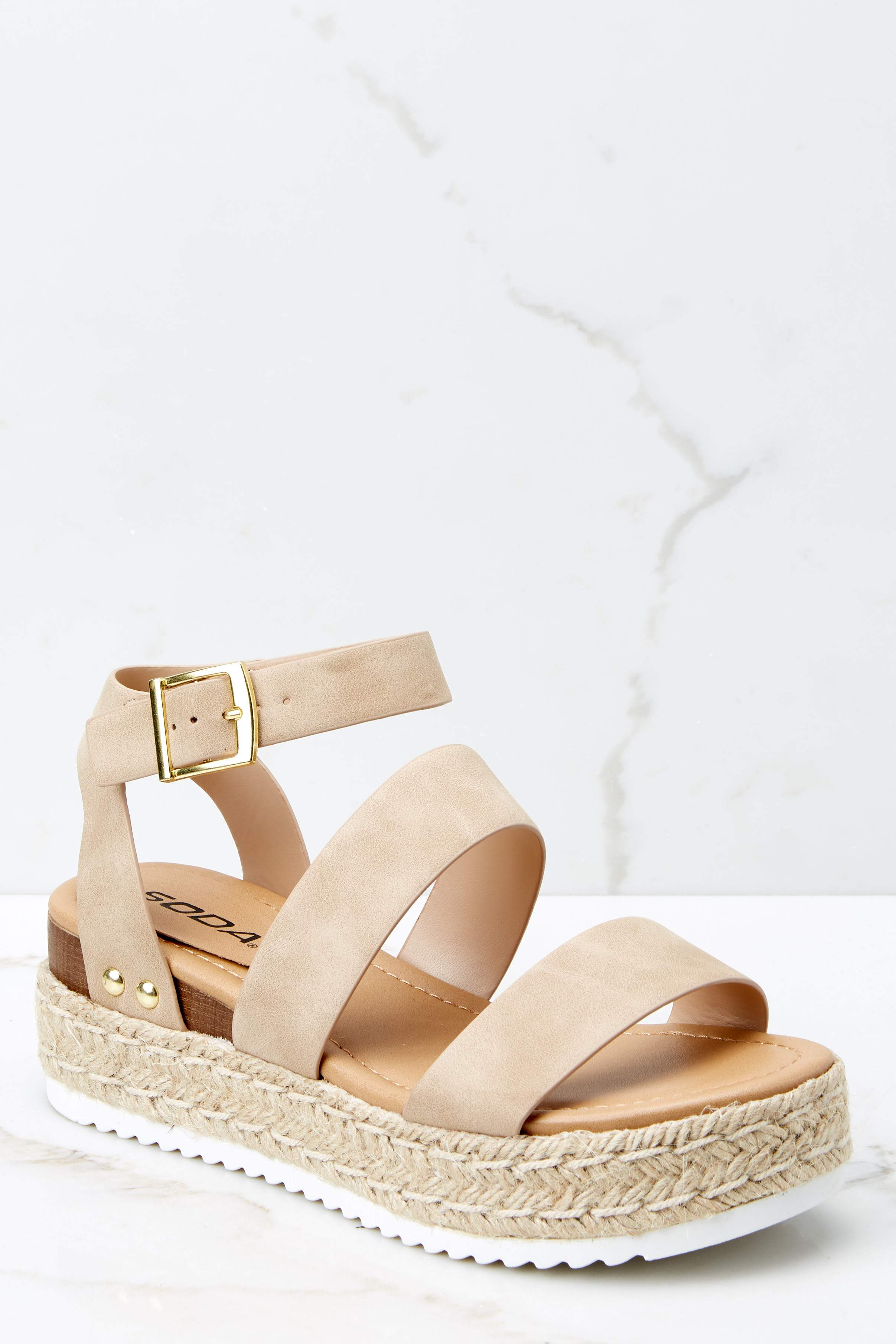 2 Going For Now Taupe Flatform Sandals at reddress.com