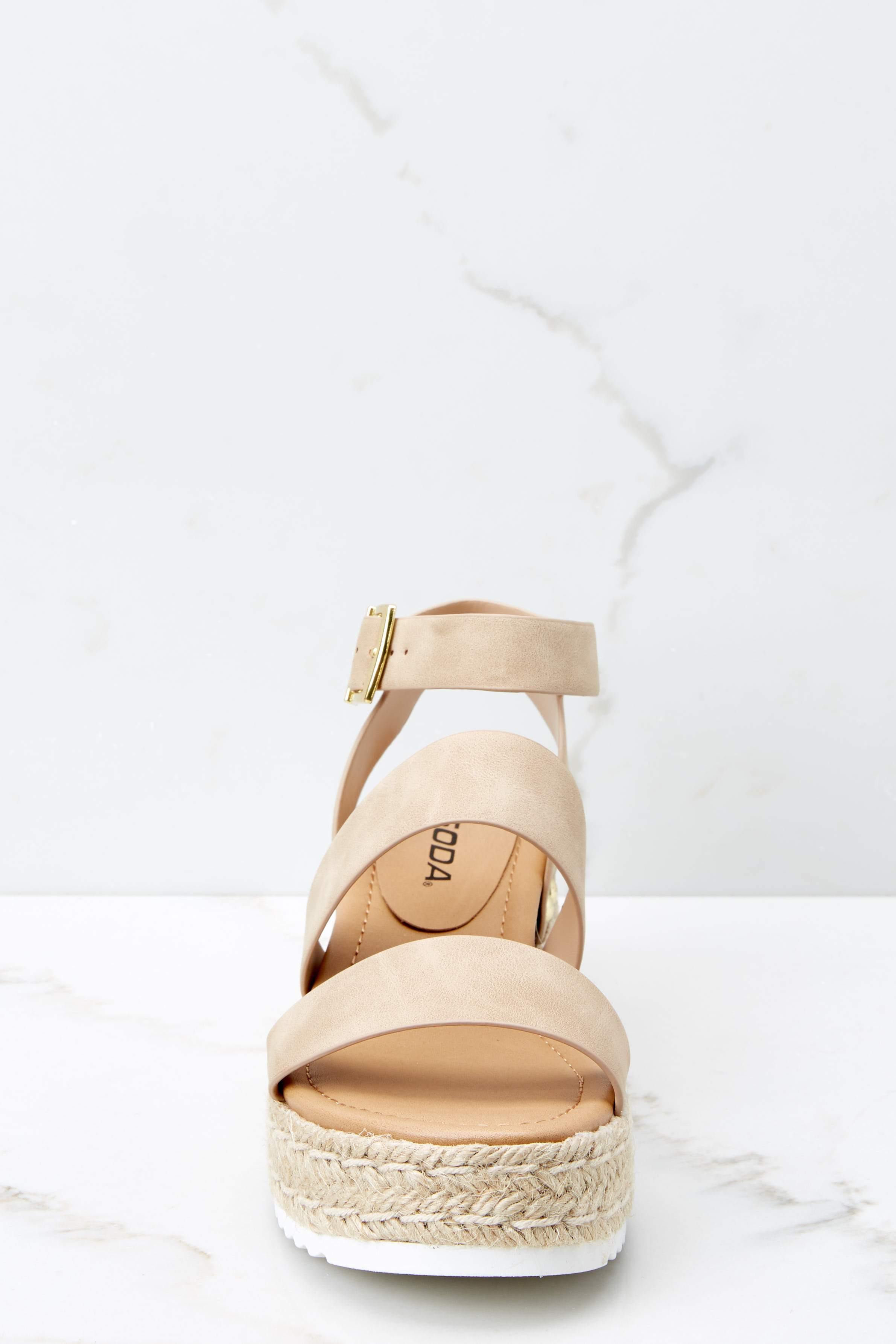3 Going For Now Taupe Flatform Sandals at reddress.com