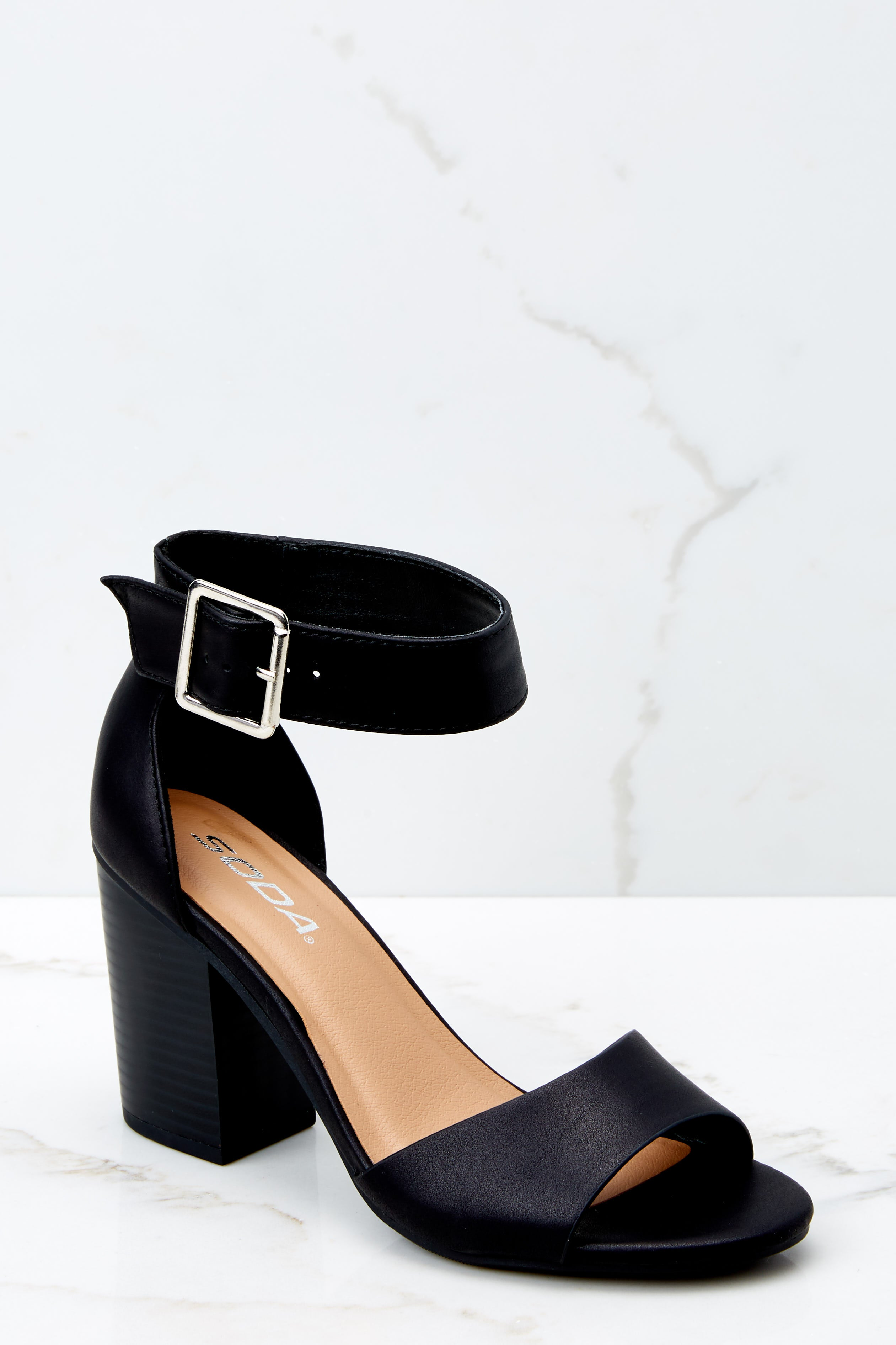 1 Make The Stand Black Ankle Strap Heels at reddressboutique.com