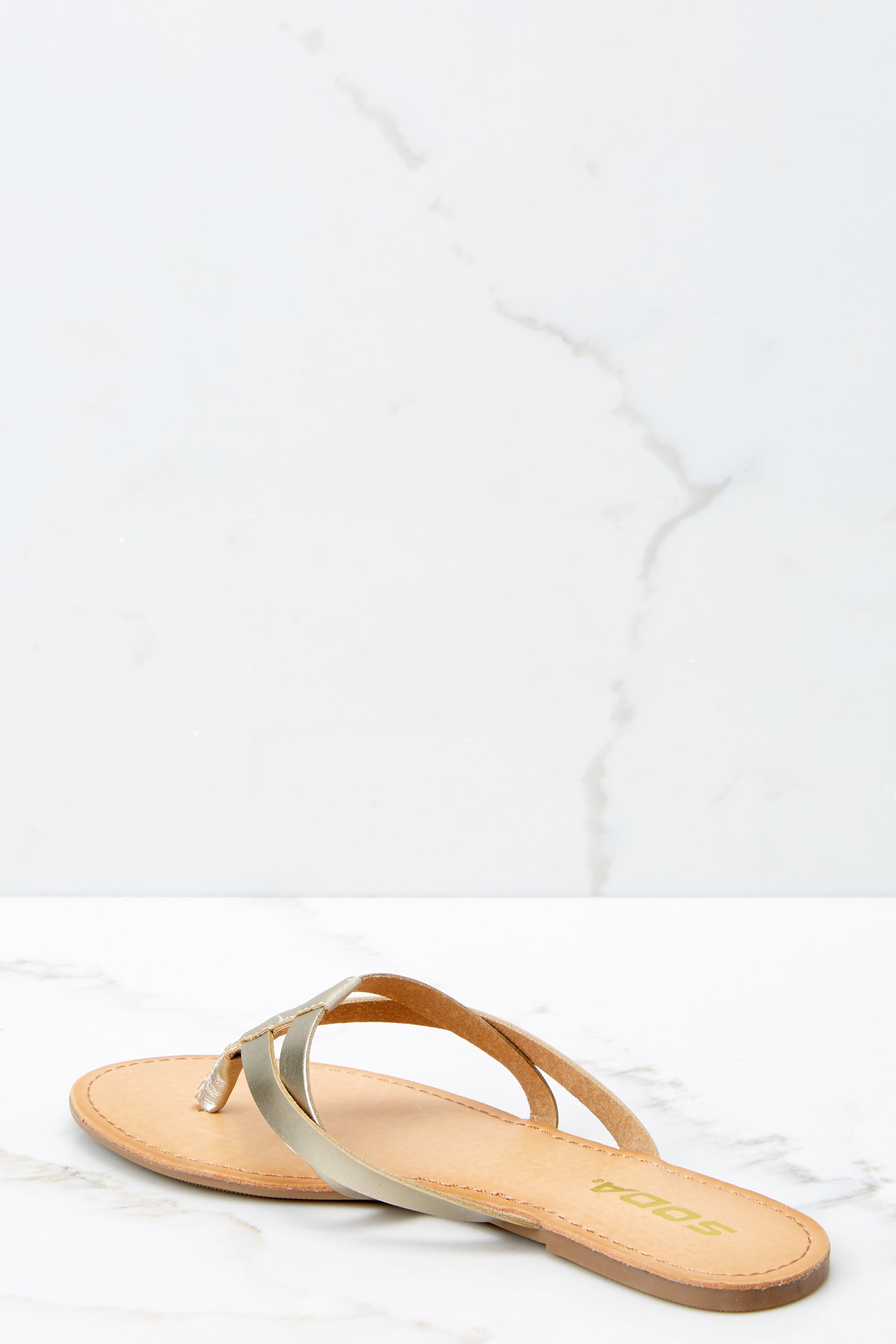 3 Chase The Thrill Gold Sandals at reddressboutique.com