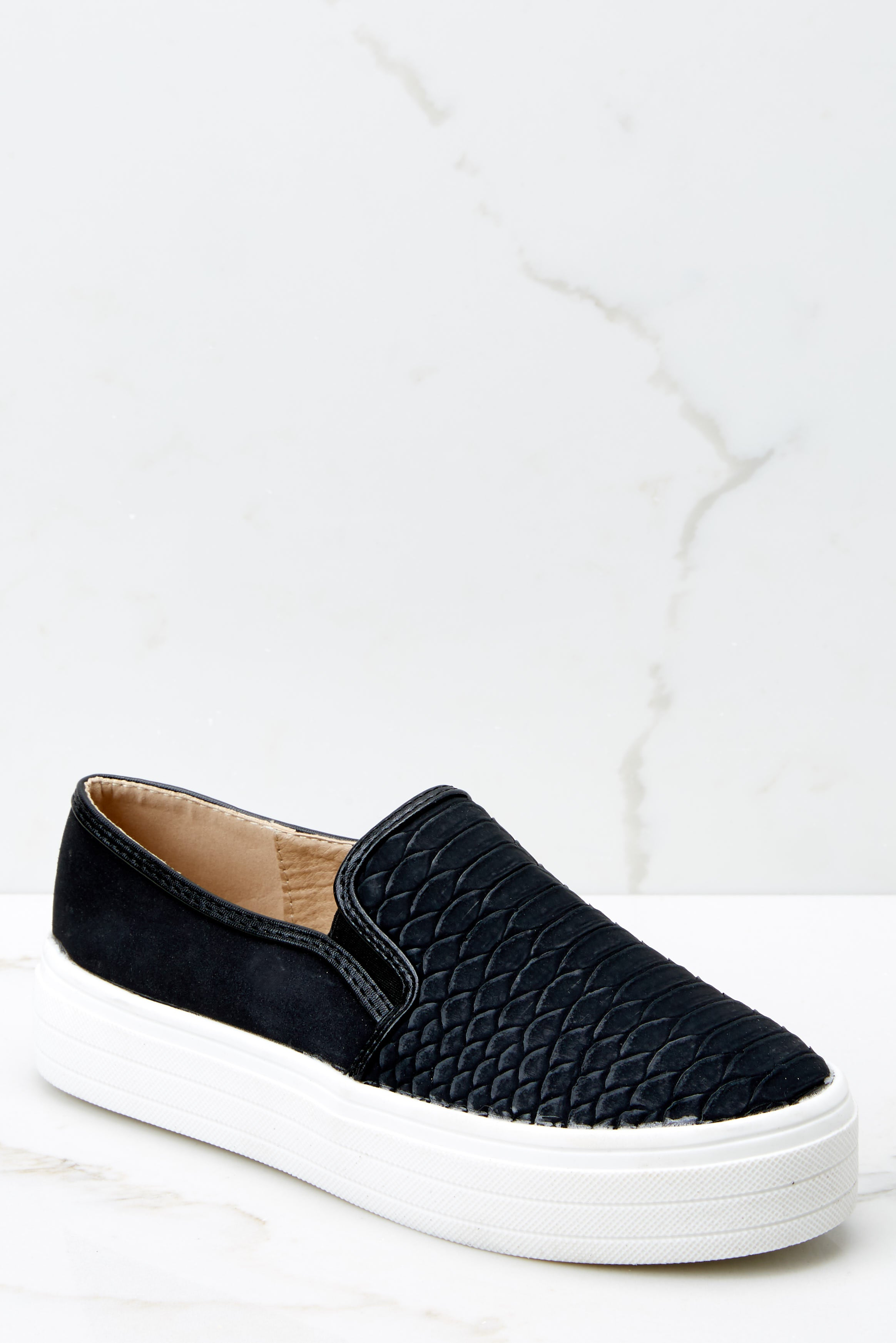 1 Into High Gear Black Slip On Sneakers at reddressboutique.com
