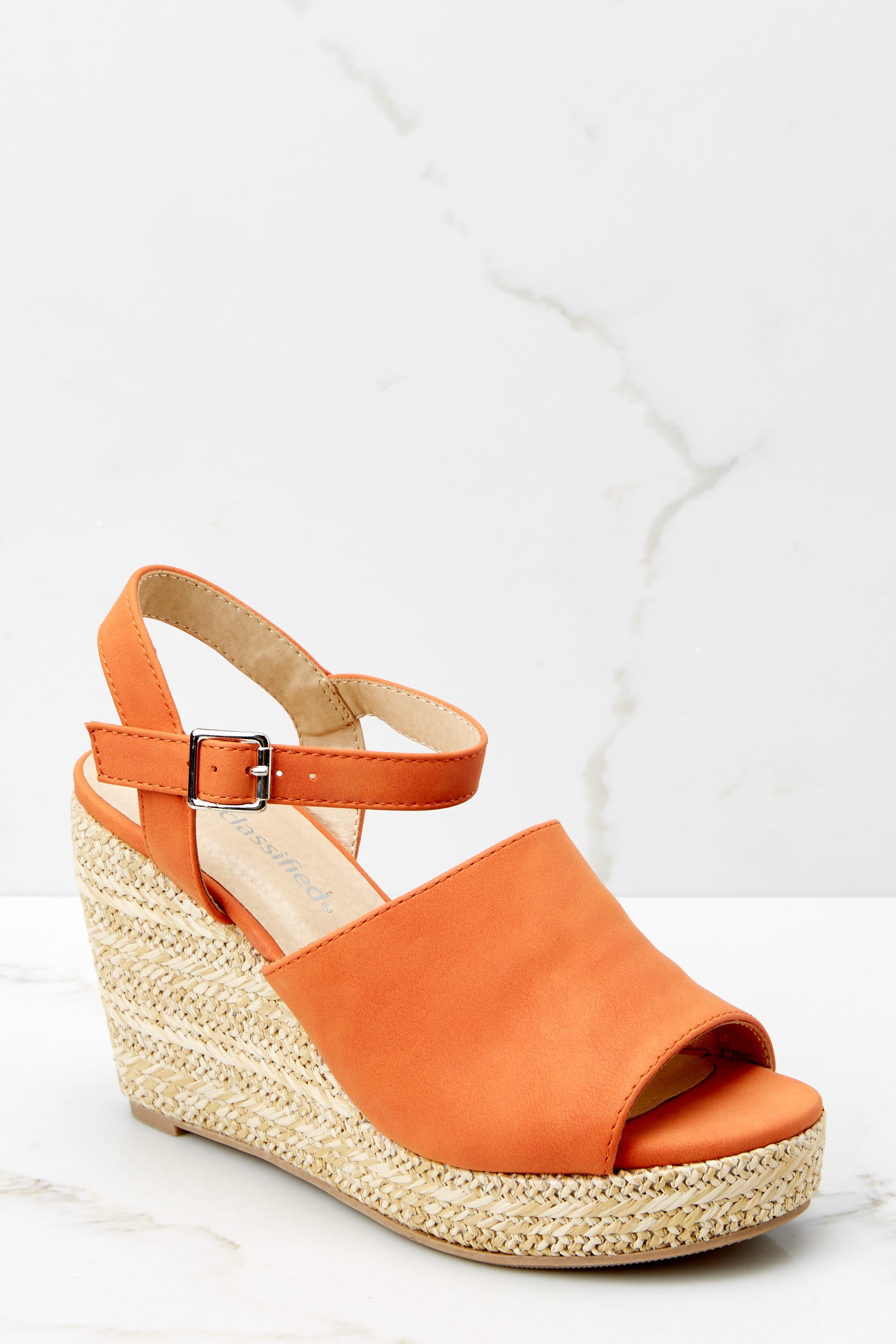 1 Walking On Sunshine Coral Orange Platform Wedges at reddress.com