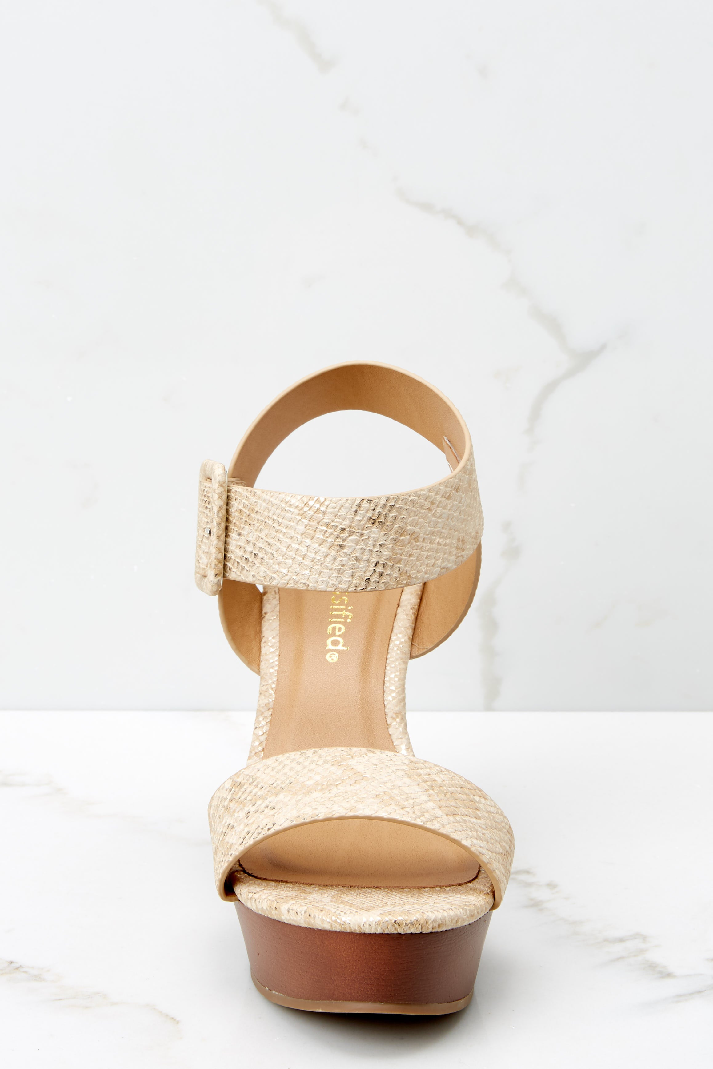 2 Work With It Gold Snakeskin Platform Wedges at reddress.com