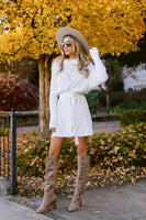 Tall Cowl Neck Dolman Sleeves Belted Ribbed Sweater Dress