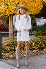 2 Ready Willing And Cable Knit Ivory Sweater Dress at reddressboutique.com
