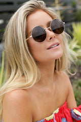 3 Electric Dreams Brown Sunglasses at reddressboutique.com