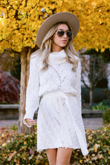 3 Ready Willing And Cable Knit Ivory Sweater Dress at reddressboutique.com