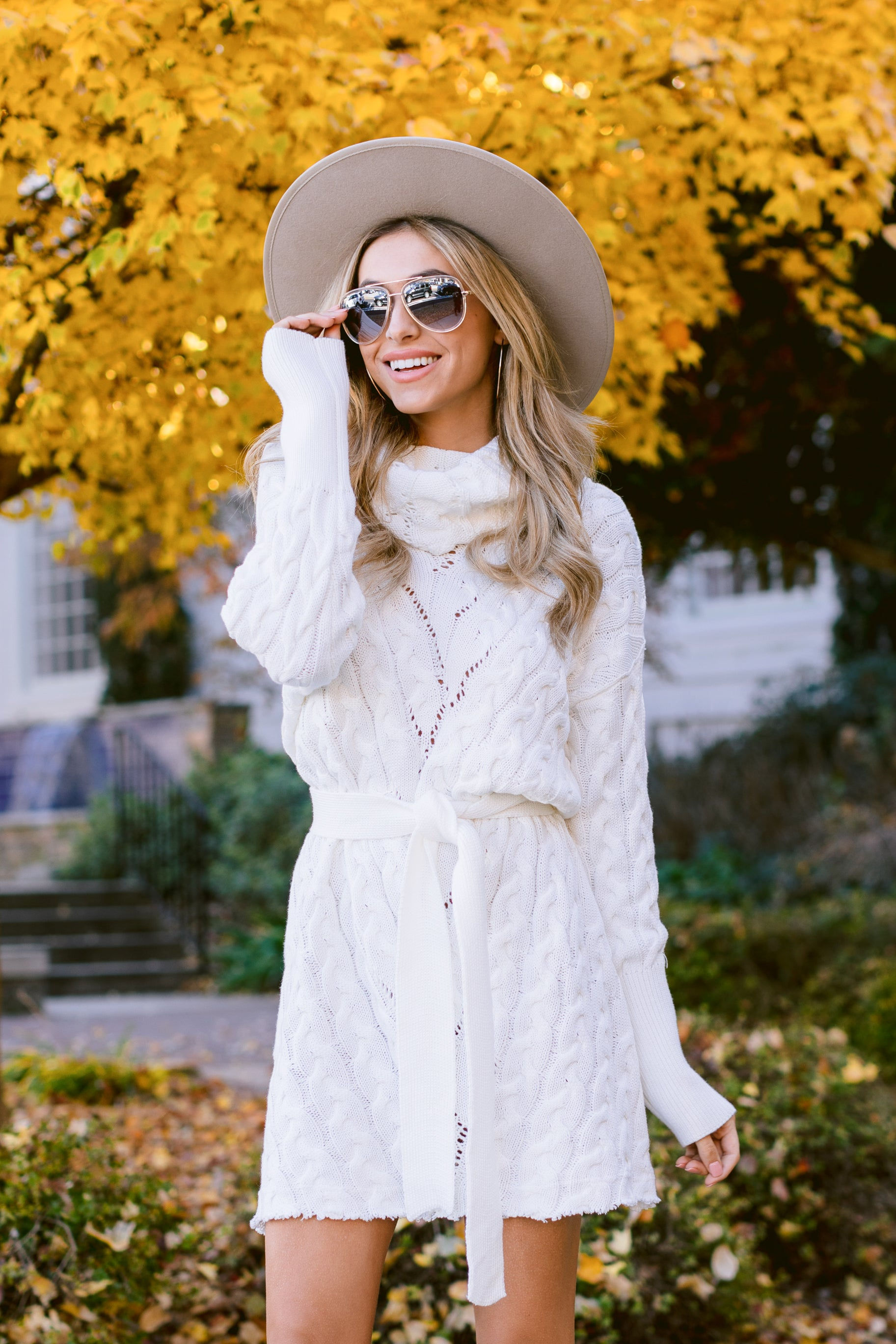 5 Ready Willing And Cable Knit Ivory Sweater Dress at reddressboutique.com