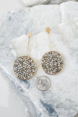 3 Moonlit Paths Grey Beaded Earrings at reddressboutique.com
