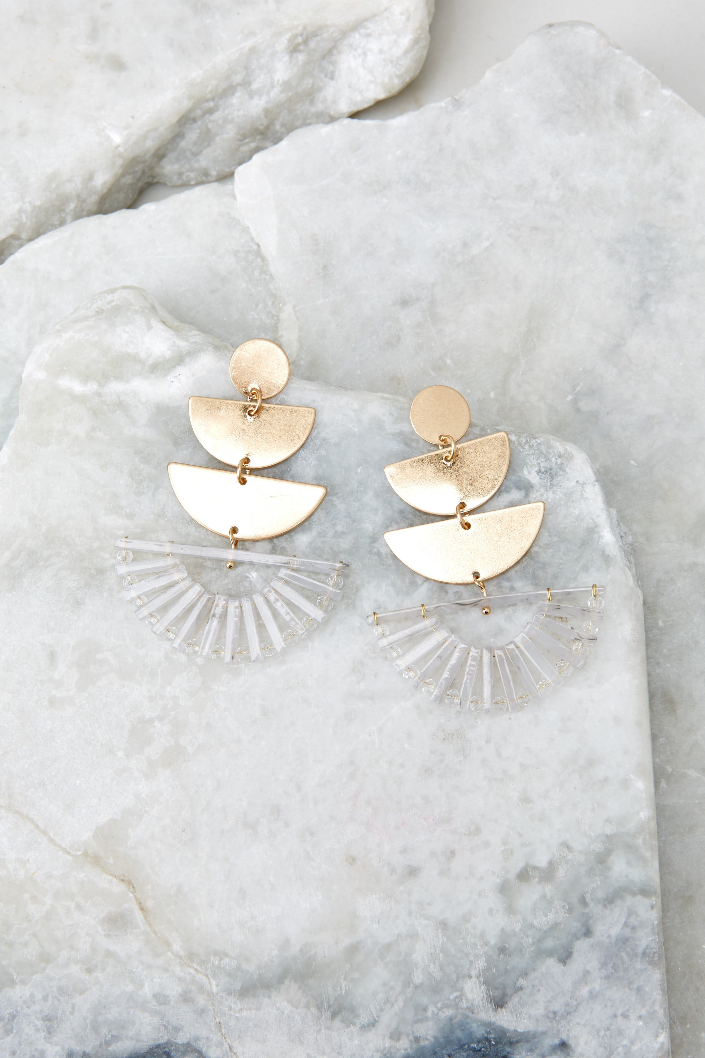 2 Goddess Tiers Gold Earrings at reddressboutique.com