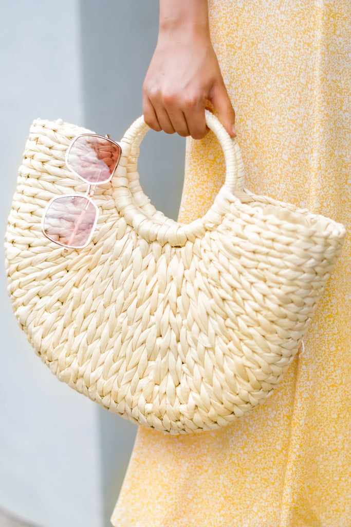 1 Take Me Around Natural Tan Round Bag at reddressboutique.com
