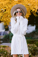 6 Ready Willing And Cable Knit Ivory Sweater Dress at reddressboutique.com