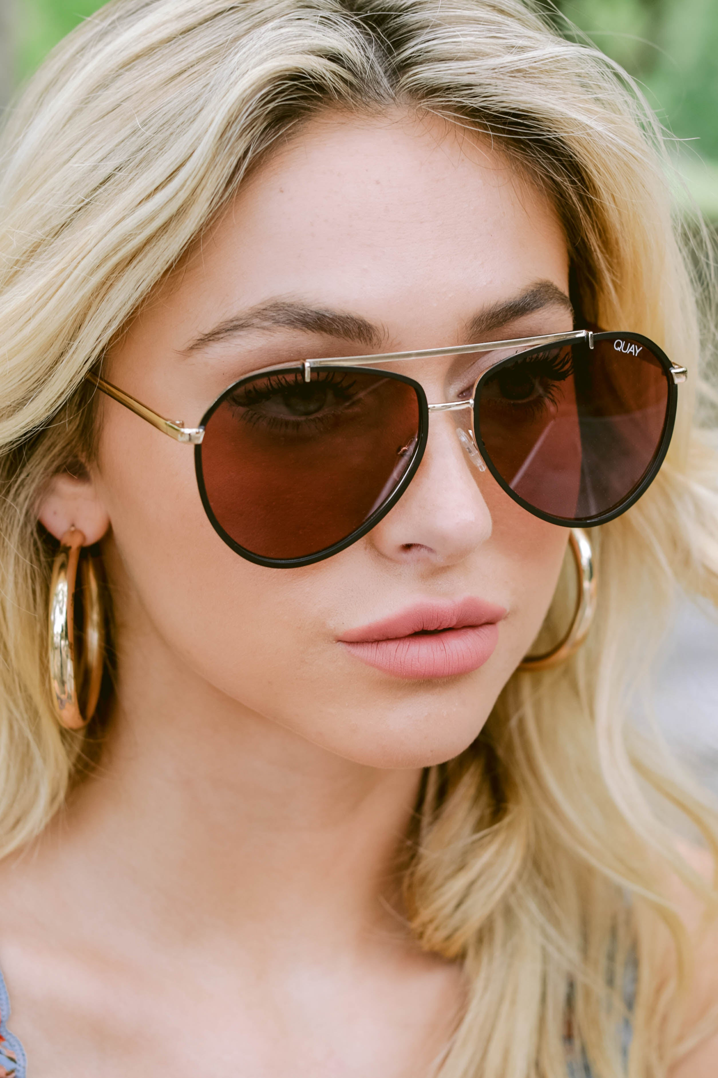 2 Dirty Habit Gold Brown Sunglasses at reddress.com