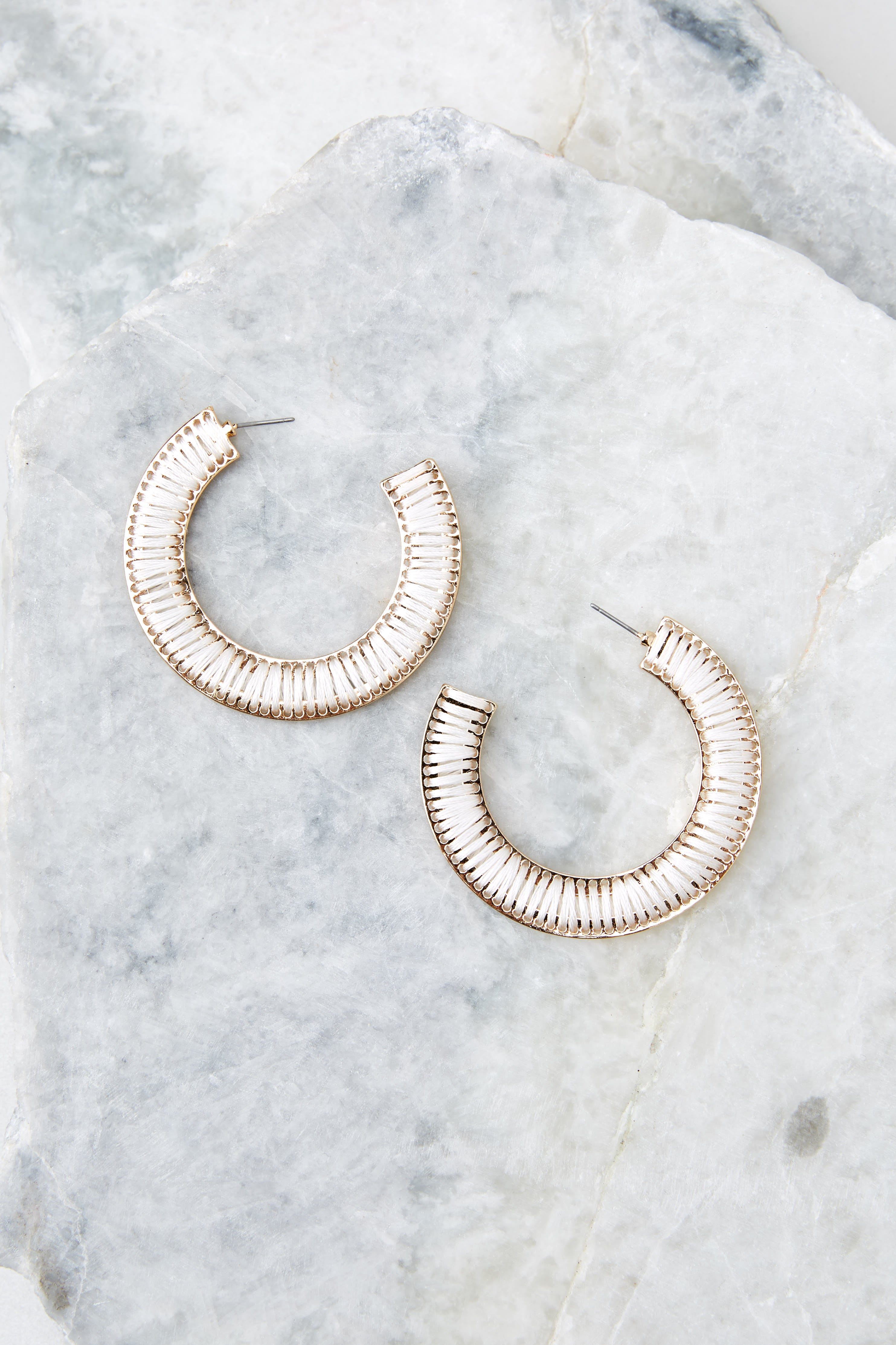 Finding Peace White Hoop Earrings