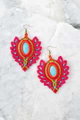 2 Phoenix Rising Hot Pink Multi Earrings at reddressboutique.com