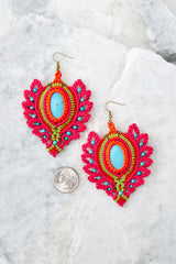 1 Phoenix Rising Hot Pink Multi Earrings at reddressboutique.com