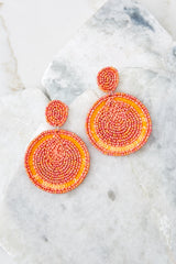 Freshly Sliced Coral Orange Beaded Earrings