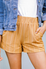 6 Good Life Mustard Stripe Shorts at reddressboutique.com