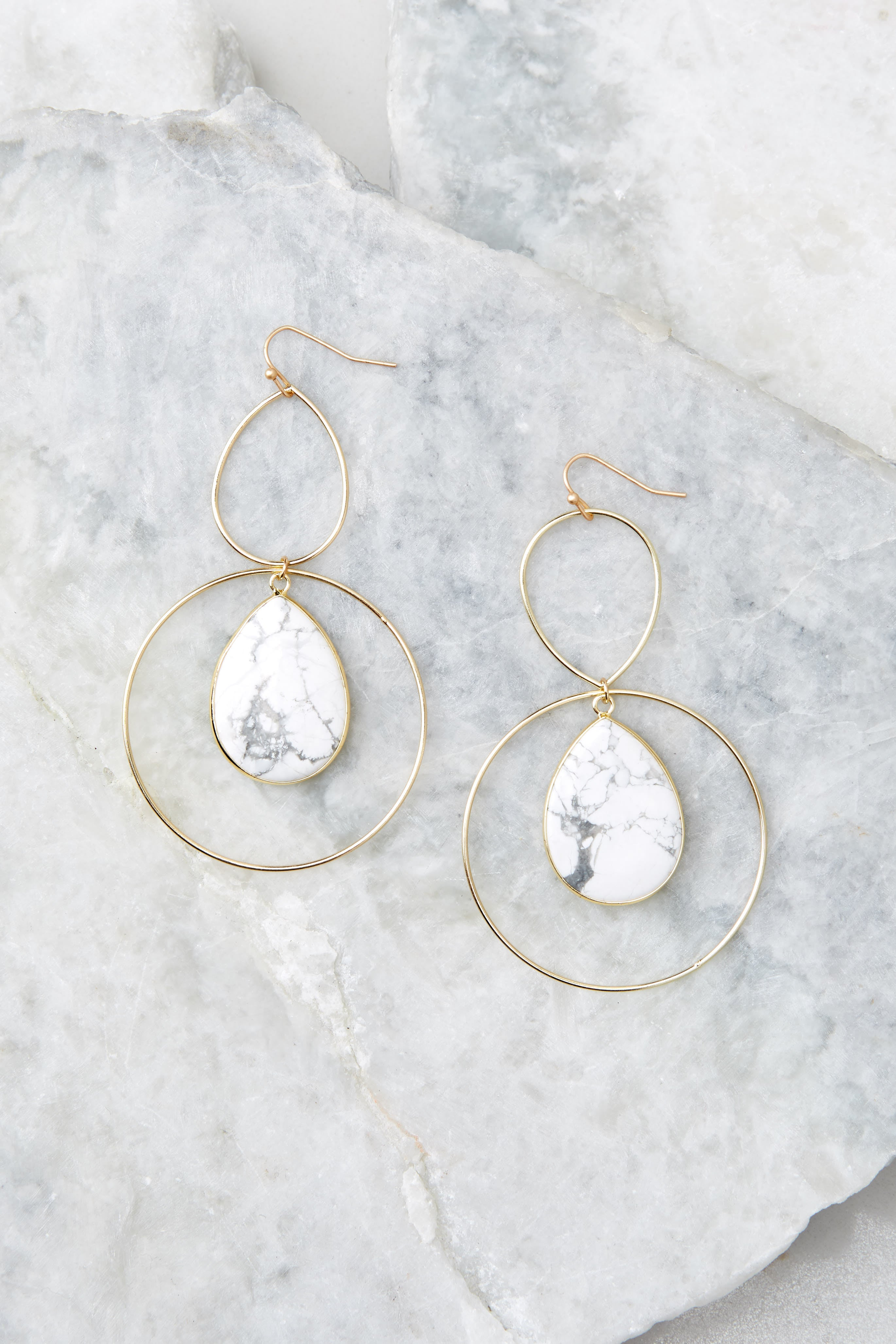 2 Trifecta Of Perfection White Marble Earrings at reddressboutique.com