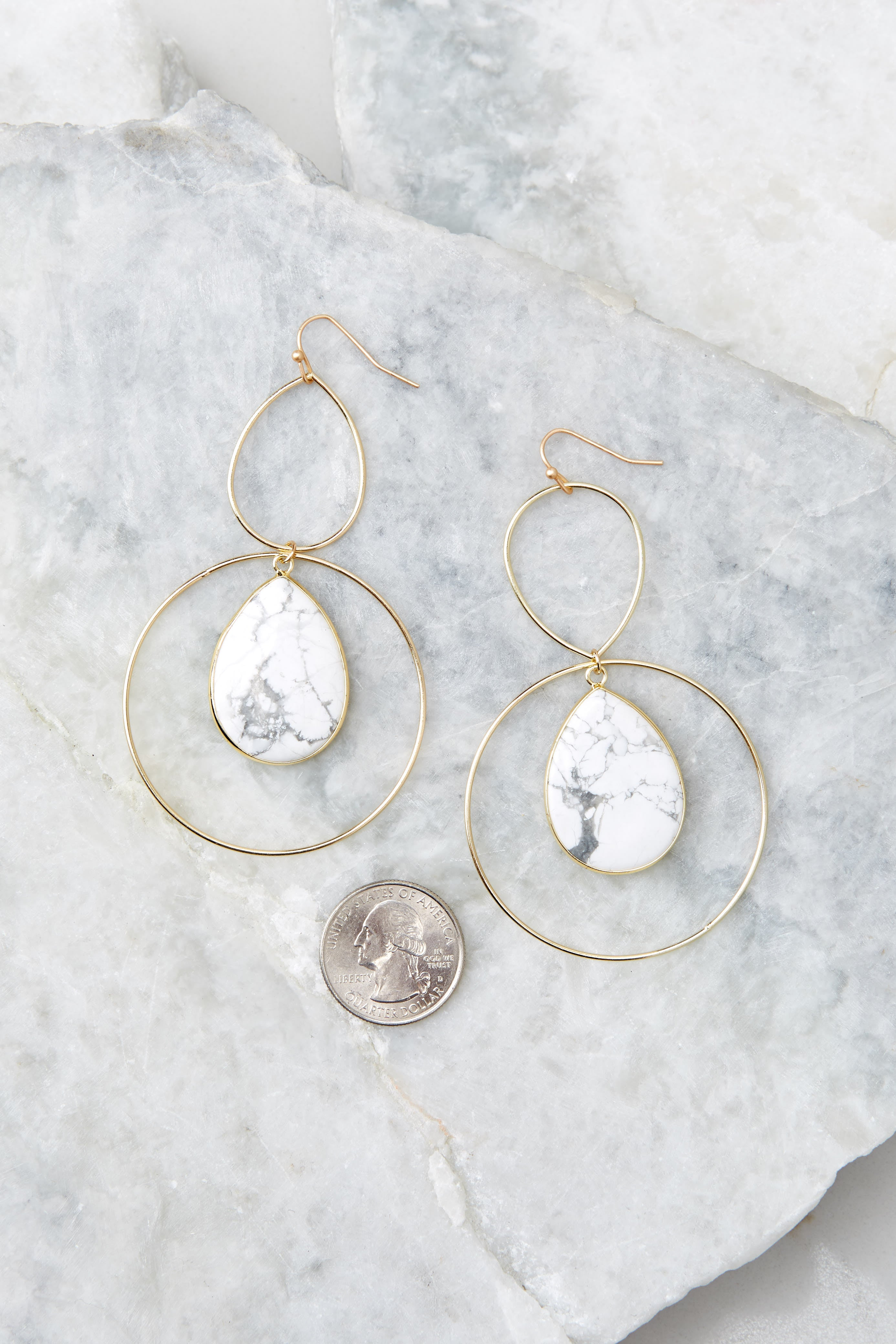 3 Trifecta Of Perfection White Marble Earrings at reddressboutique.com